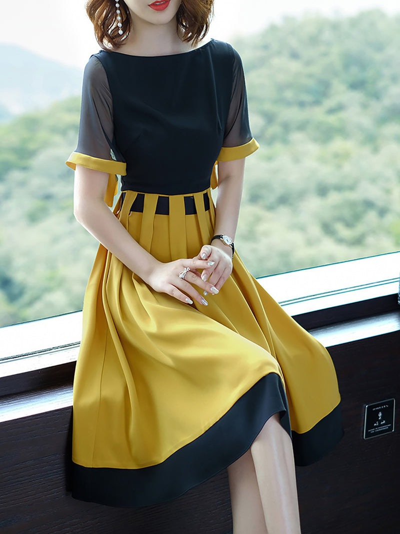 Black-Yellow Polyester Short Sleeve Paneled Midi Dress