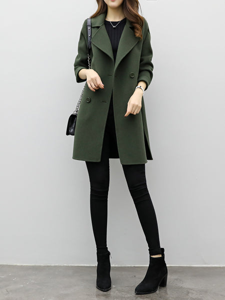Solid Buttoned H-line Long Sleeve Coat