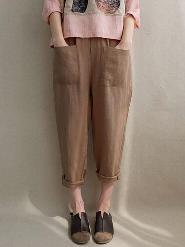 Casual Solid Pockets Cotton Linen Pants