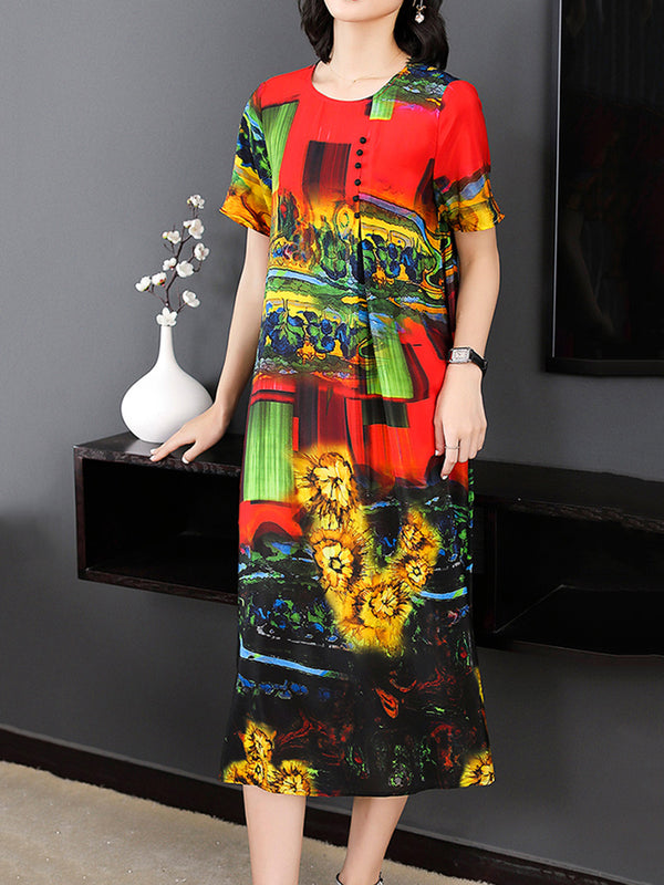 Graphic Printed Buttoned Crew Neck Elegant Satin Dress