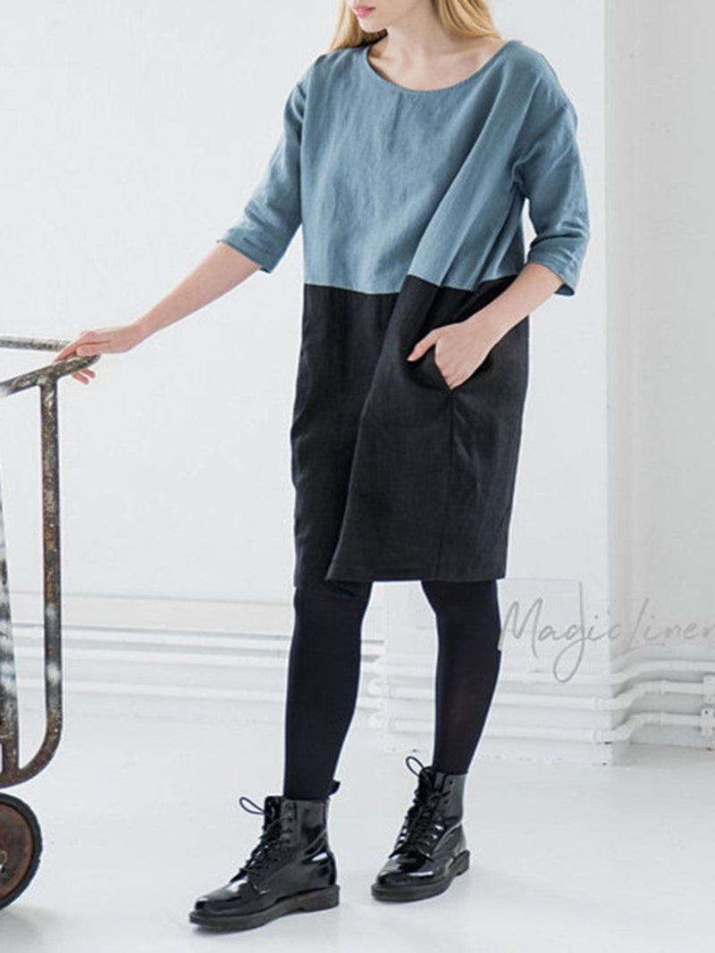 Color-block 3/4 Sleeve Shift Casual Dress