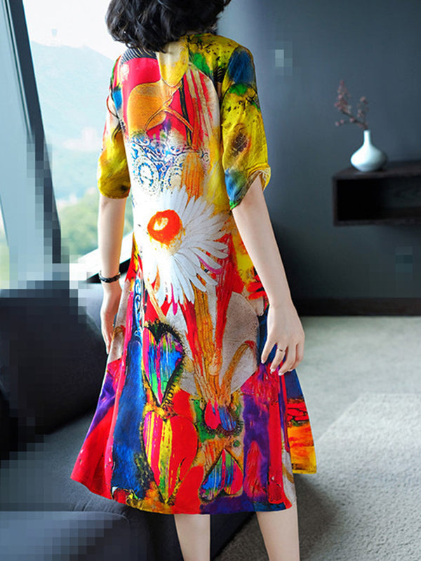 Yellow  Floral  Printed Elegant Crew Neck Half Sleeve Dress