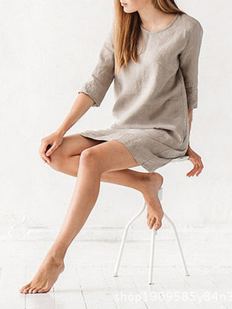 Casual A-line 3/4 Sleeve Solid Crew Neck Linen Dress