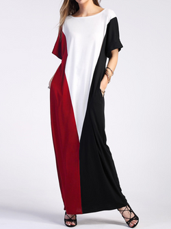 Crew Neck Solid Short Sleeve Casual Maxi Dress