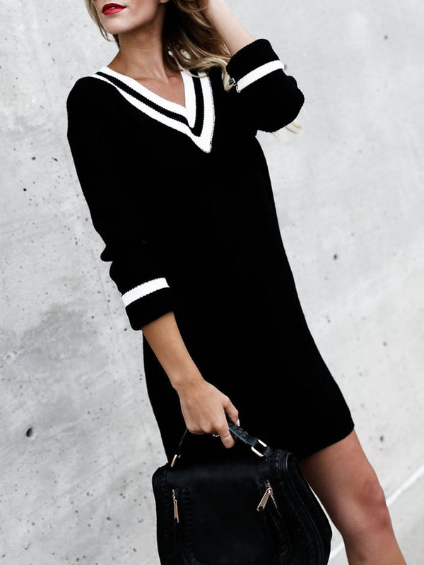 Casual V-Neck Long Sleeve Knitted Dress