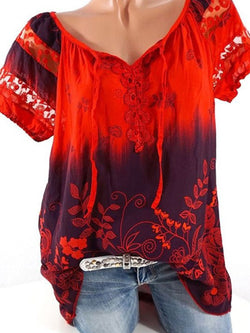 Crew Neck Crochet-trimmed Short Sleeve Blouse