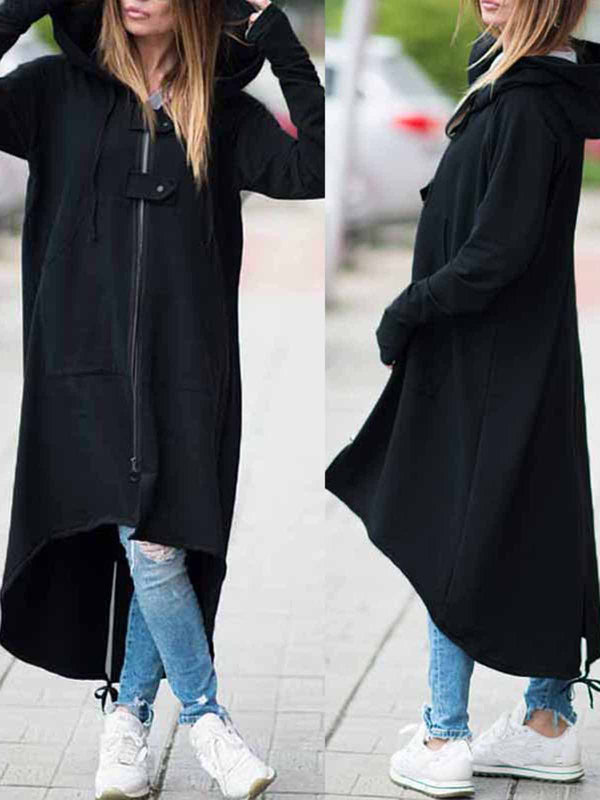 Hoodie Dress Zipper Asymmetrical Long Jacket Coat
