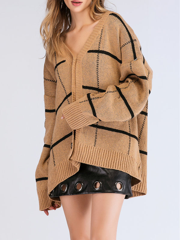 popular Khaki Buttoned Casual Checkered/plaid Coats