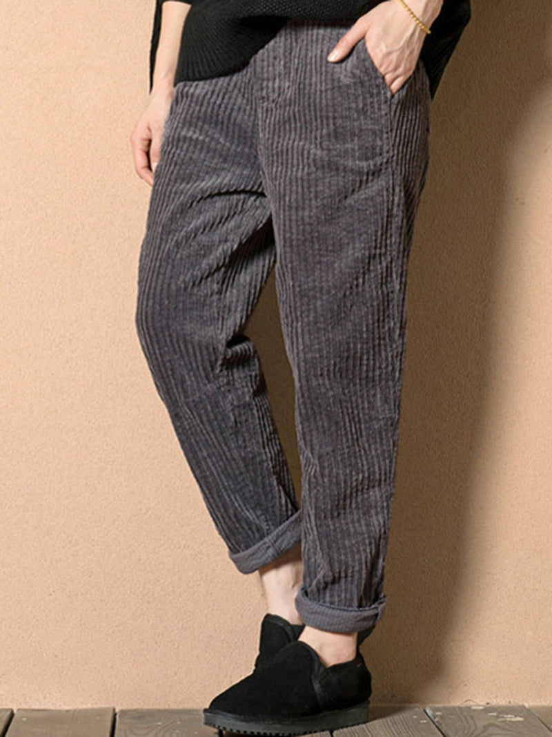 Plain Casual Corduroy Pants