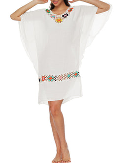 Crocheted Holiday Batwing Linen V-Neck Dress