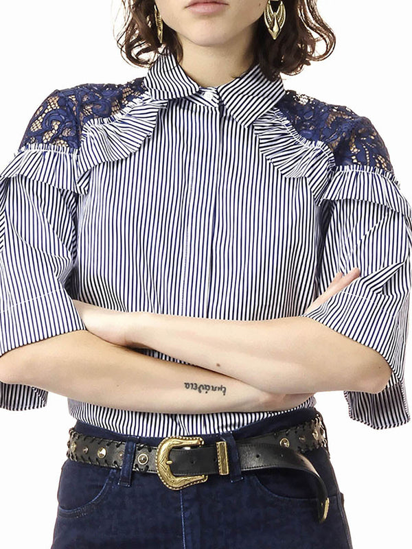 Casual Shirt Collar Half Sleeve Blouse