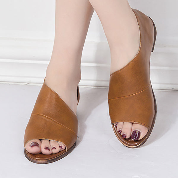 Women PU Sandals Casual Comfort Peep Top Shoes