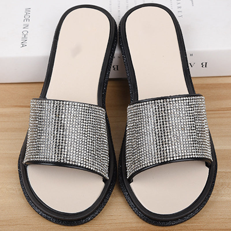Women PU Slippers Casual Comfort  Rhinestone Shoes