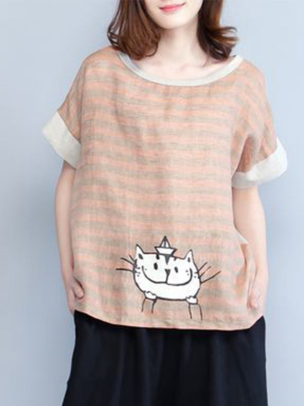 Cartoon Short Sleeve Casual Striped Shirt