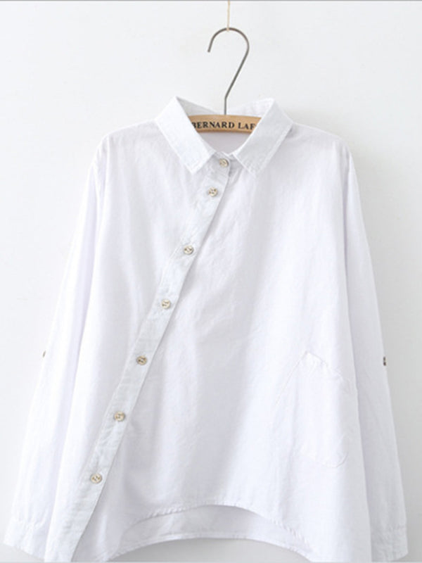 Buttoned Pockets Casual Stand Collar Blouse