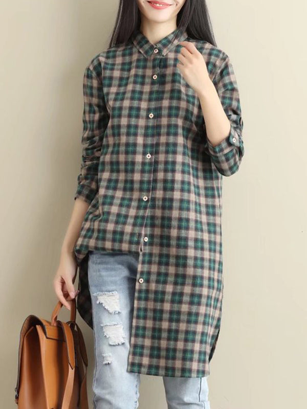 Checkered Print Casual Buttoned Shirt