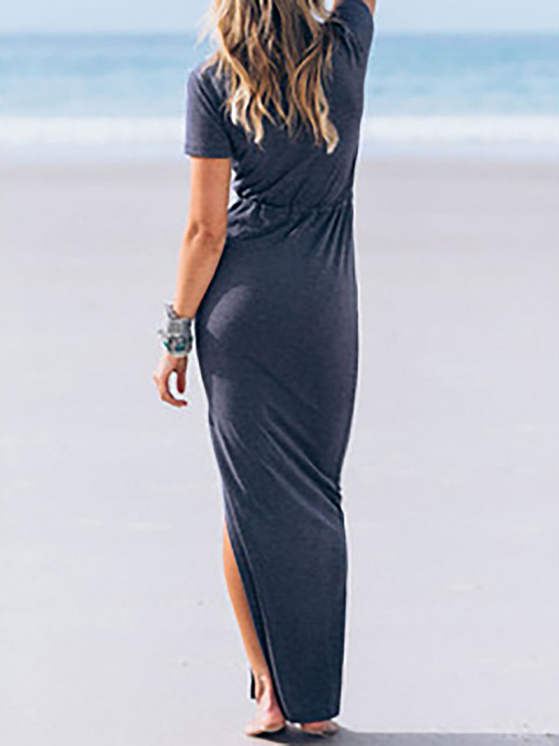 Basic Slit Surplice V-Neck Beach Maxi Dress