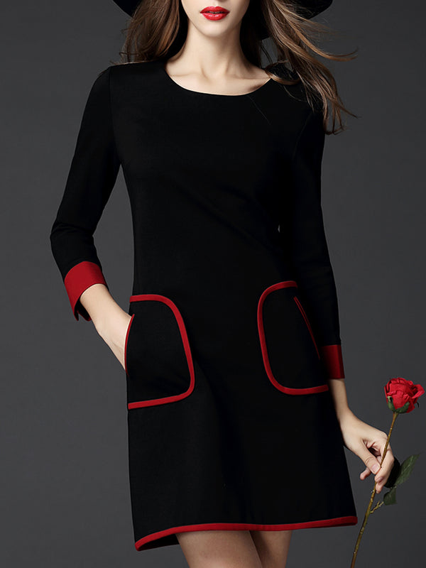 Black Pockets Long Sleeve Binding Plus Size Dress