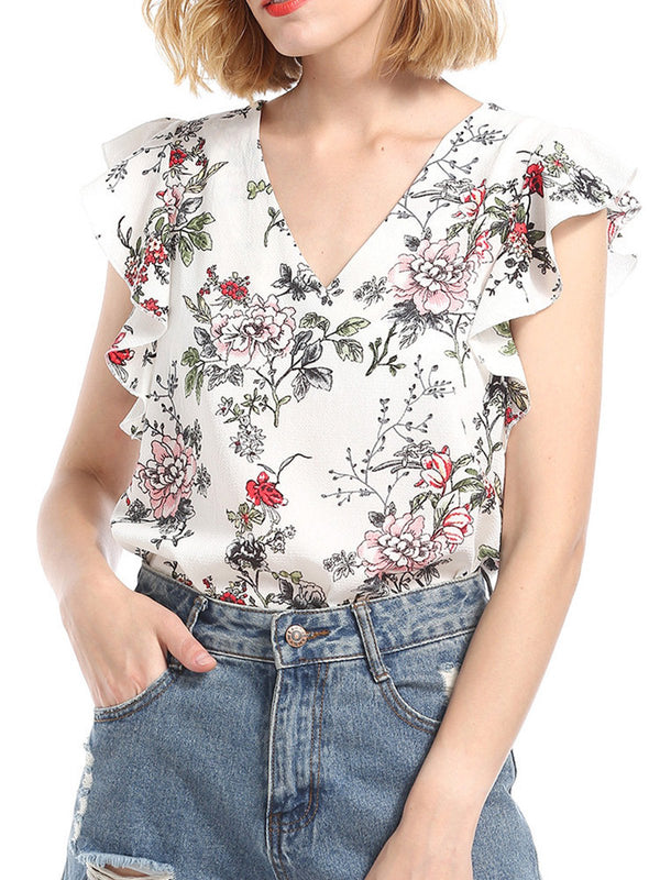 White Ruffled Floral Ptinted V-neck Blouses