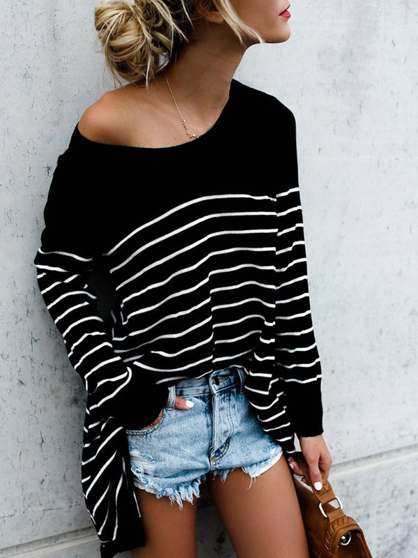Crew Neck Stripes Long Sleeve Printed Casual T-Shirt