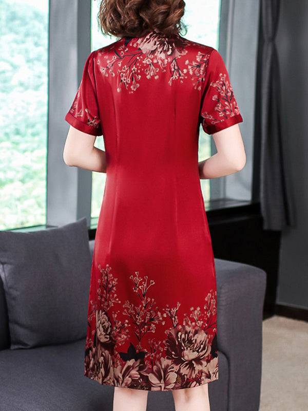 Red Printed V-neck Elegant Plus Size Dress
