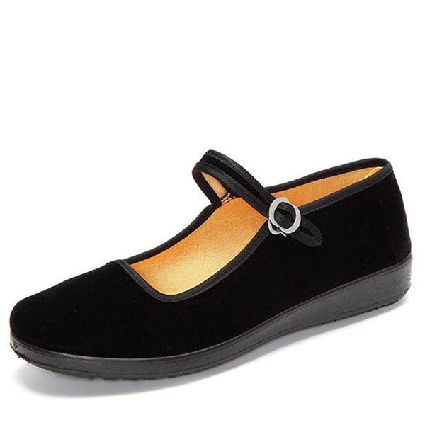 Black Women's Suede Buckle Strap Flats