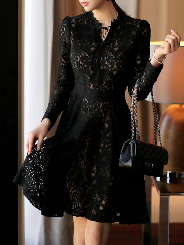 Black Guipure lace Long Sleeve Elegant A-line Dress