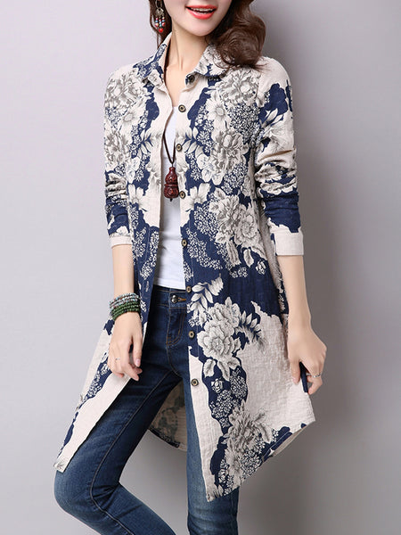 Blue Printed Floral Long Sleeve Blouse
