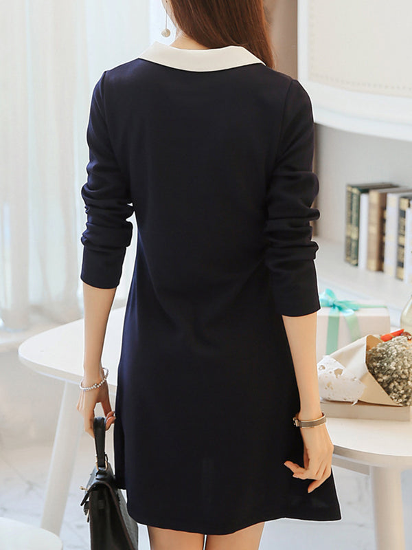 Peter Pan Collar A-line Long Sleeve Dress