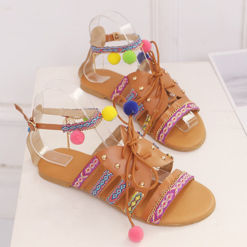 Plus Size  Bohemian Multicolor Buckle Sandals