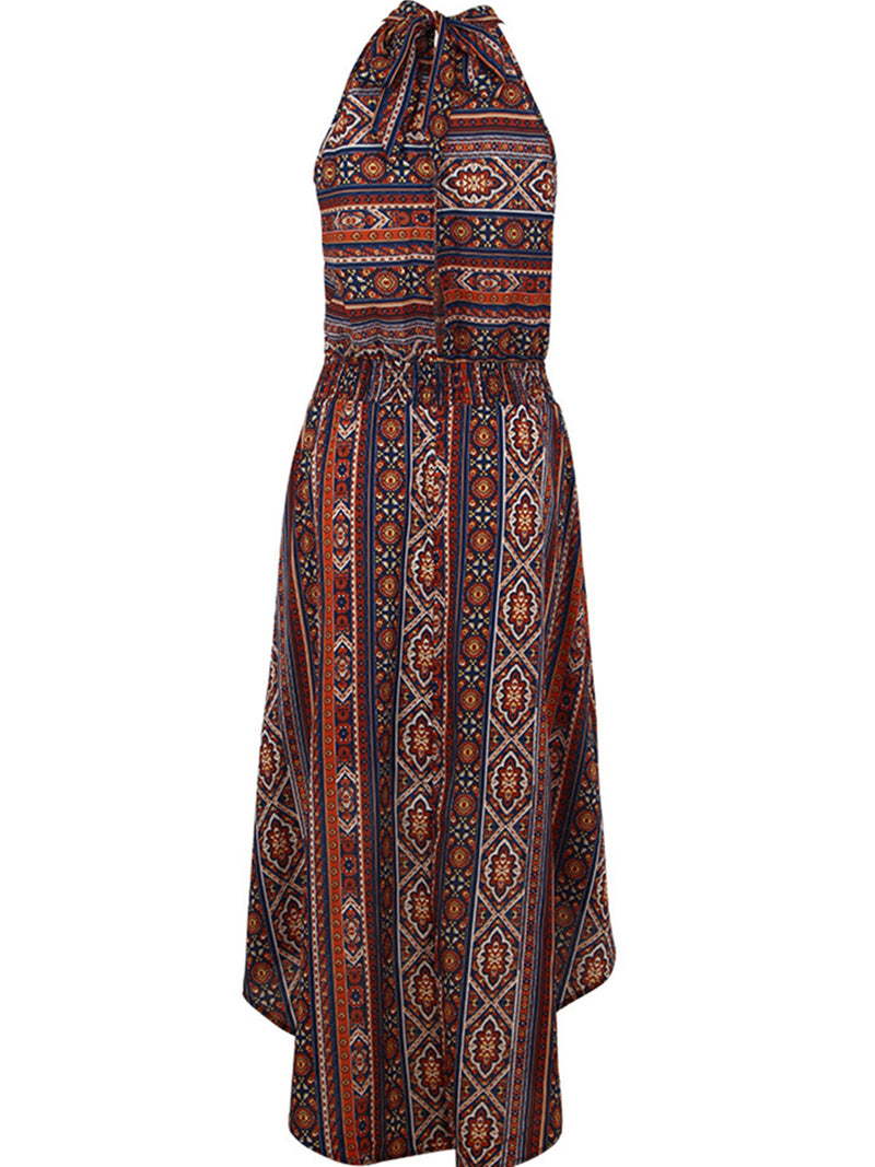 Holiday Tribal Printed A-line Stand Collar Asymmetric Dress