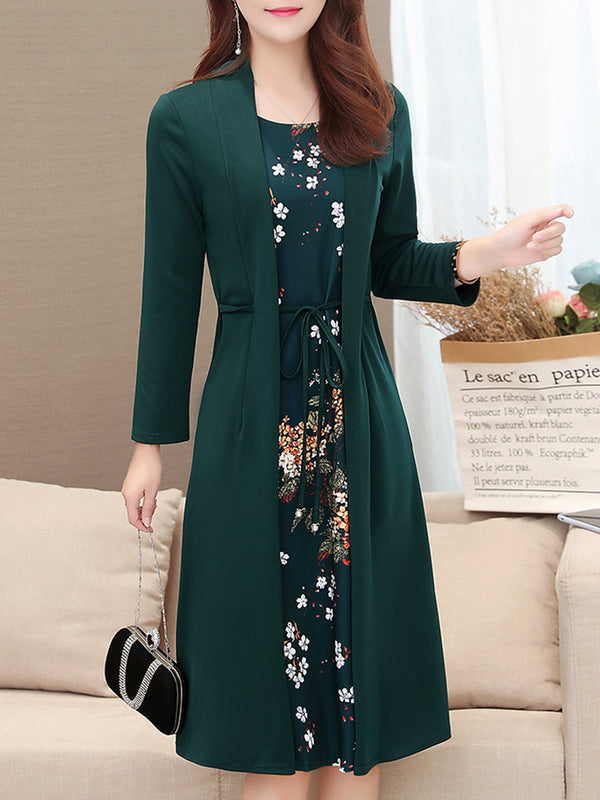 Fake Two Piece Long Sleeve Floral Dress