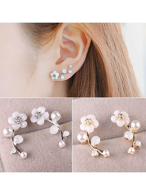 Women Fashion Elegant Flower Crystal Rhinestone Earrings