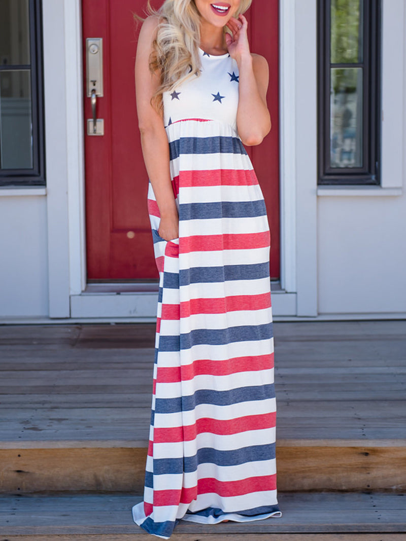 Casual Sleeveless Tribal Printed A-line Maxi Dress