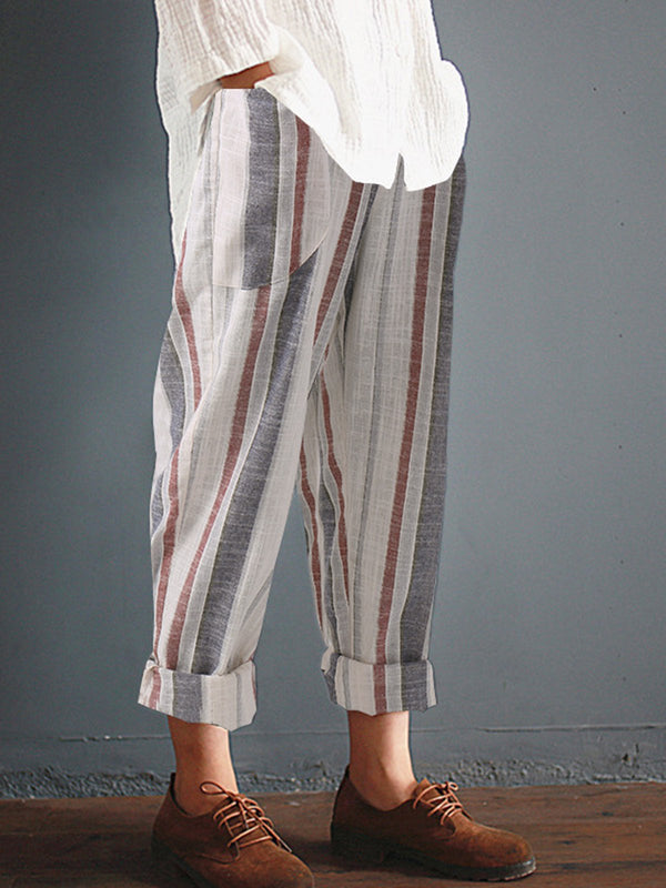 Casual Pockets Plus Size Linen Pants