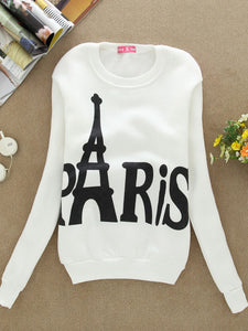 Letter Printed Crew Neck Long Sleeve Casual Sweatshirt