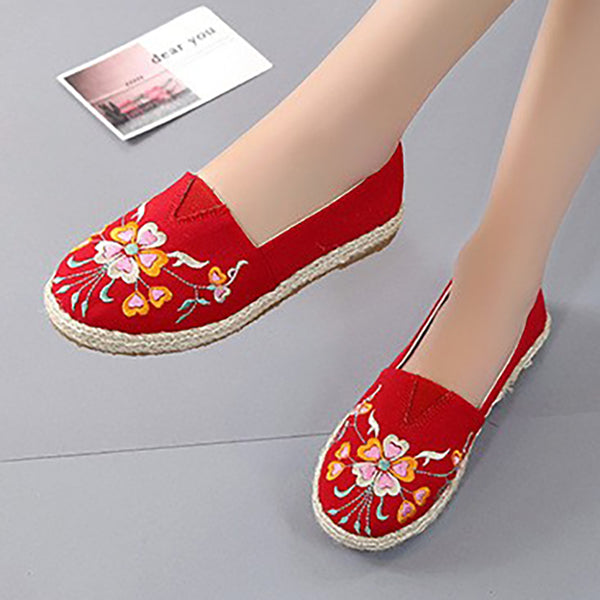 Women Flat Casual Comfort Embroidery Slip On Loafers