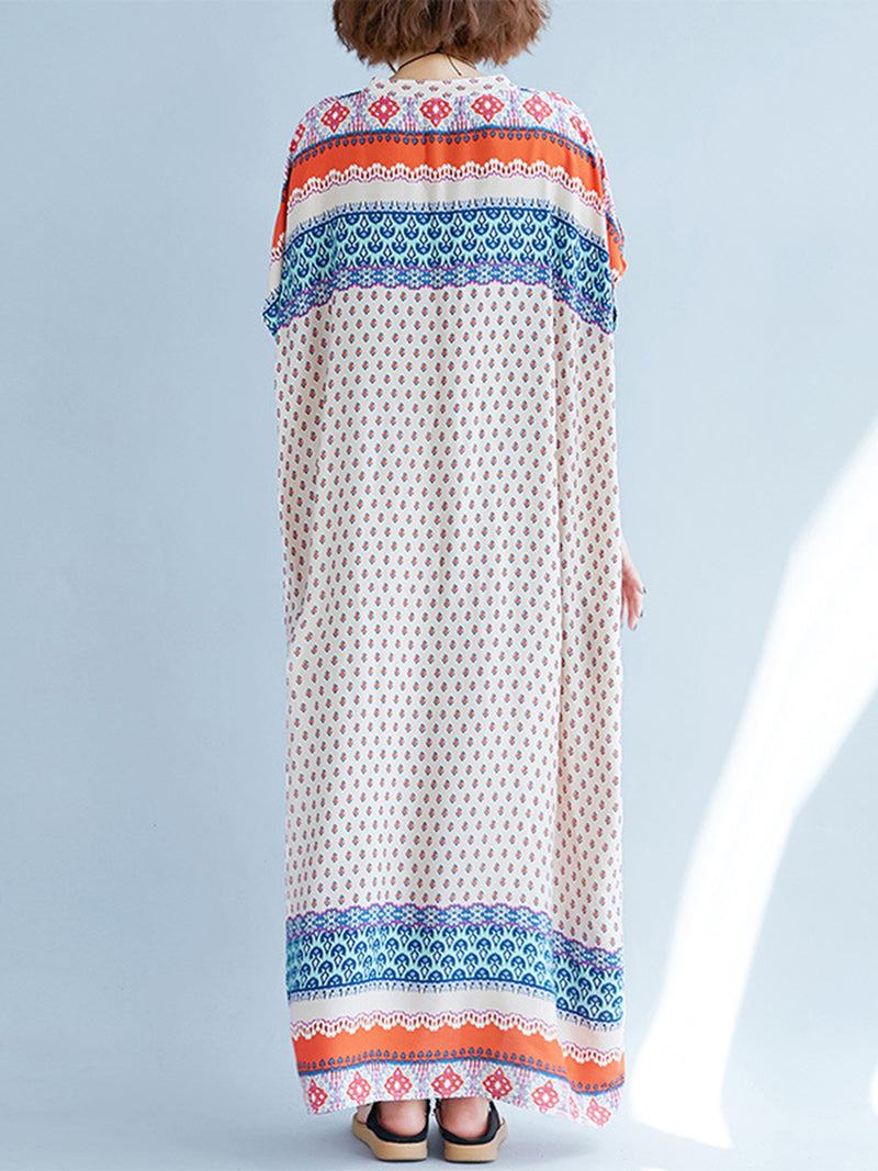 Multicolor Casual Tribal Printed Shift Pockets Maxi Dress