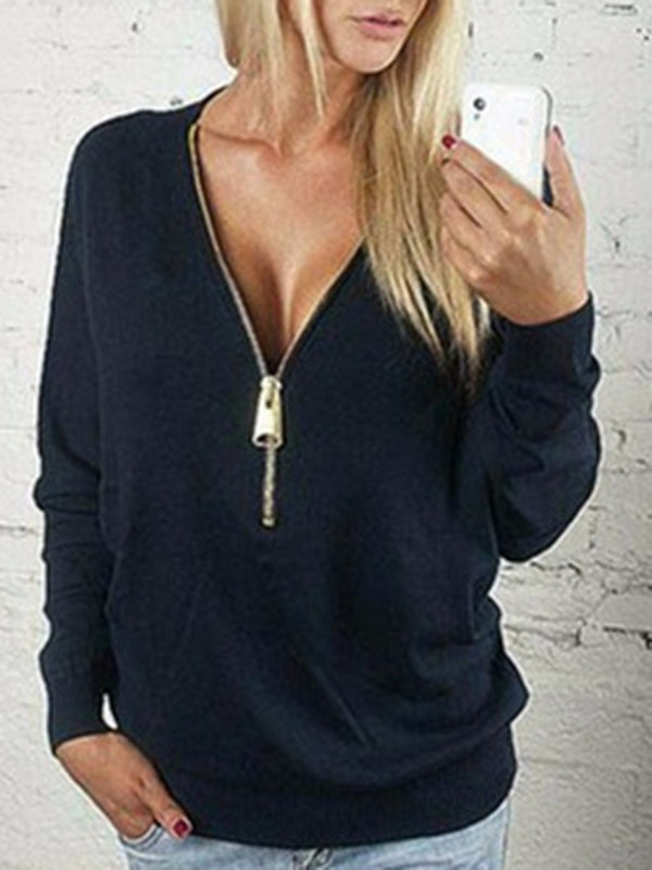 Solid V Neck Zipper Sexy Solid T-Shirt