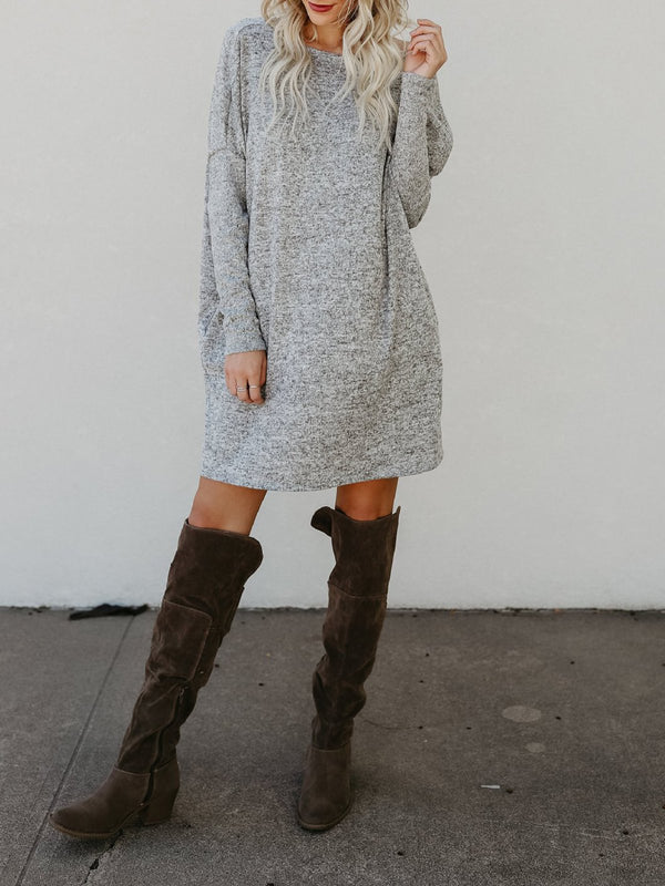 Casual Knitted Mini Long Sleeve Dress