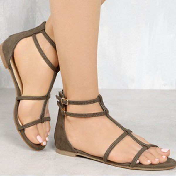 Plus Size Double Buckle Artificial Leather Flat Sandals