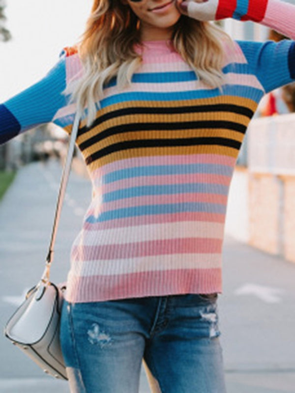 Pink Casual Shift Colorful Striped Sweater