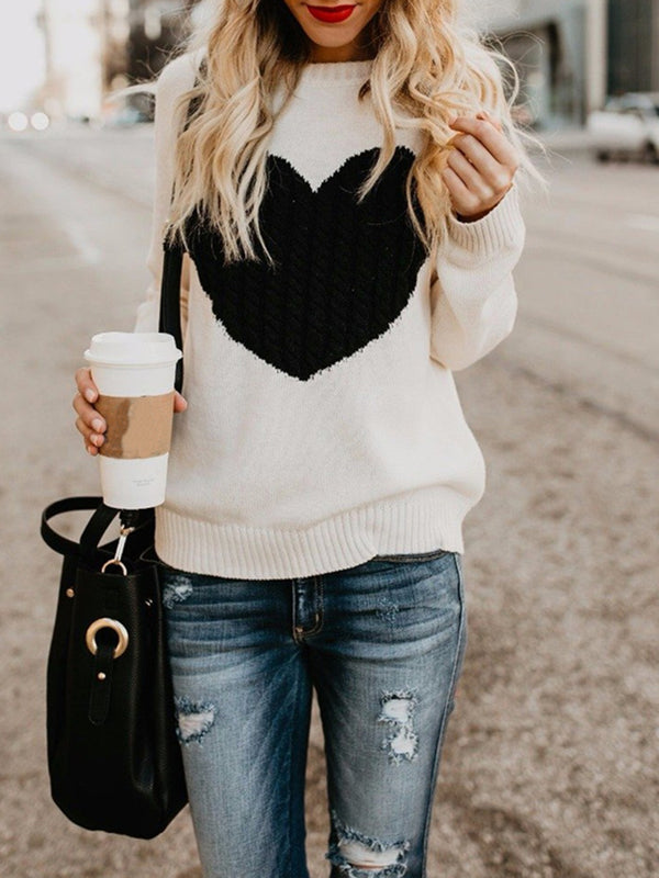 Heart Shape Pullover Knitted Sweater