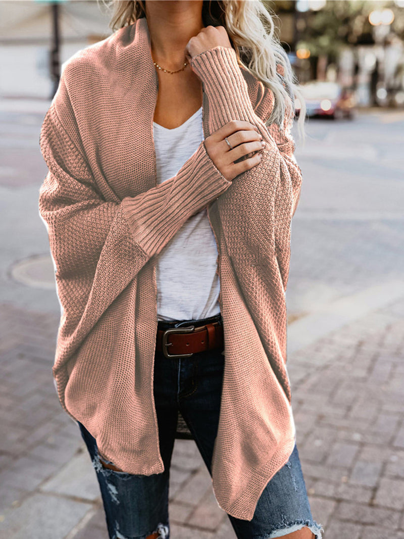 Bat Sleeve Long Knit Cardigan Sweater