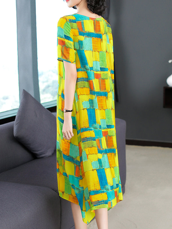 Abstract Printed Crew Neck Elegant A-line Plus Size Dress
