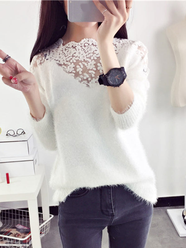 Fluffy Long Sleeve Paneled Lace Knitted Sweater