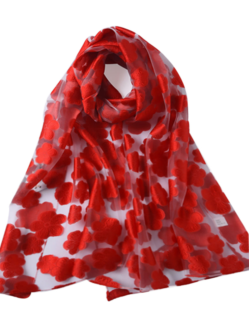 Floral Printed See- through Scarf