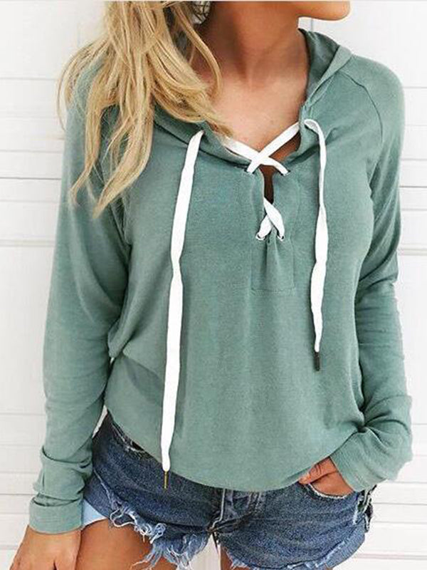 Sexy long sleeve strap hooded sweater