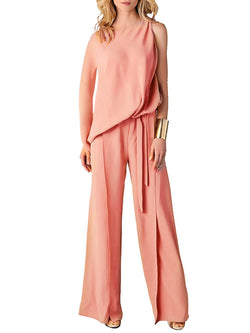 Pink Single Sleeve Crew Neck Jumpsuits