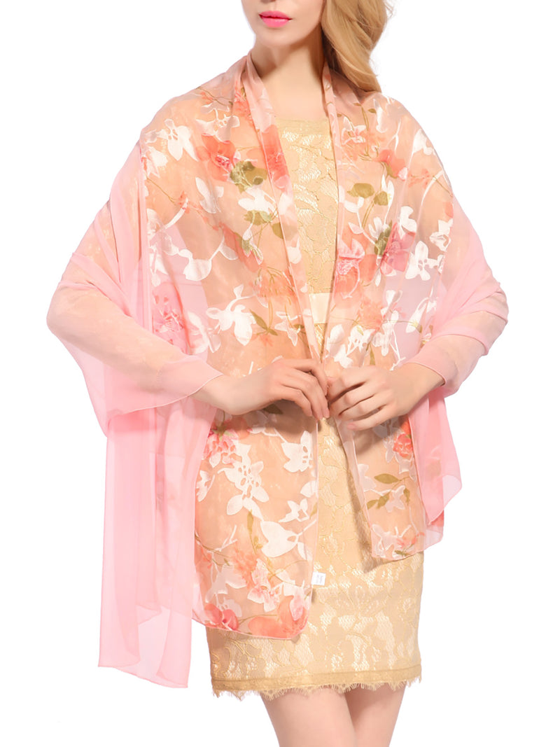 Light Pink Casual Printed Chiffon Scarf